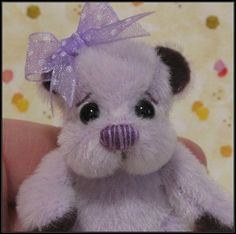 """**Beth Franco Bears** Lila is 2 3/8"""" sitting and 2 3/4"""" tall."""