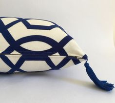 Blue and White Lumbar Pillow Cover with Tassels, Raised Geometric Velvet Design!