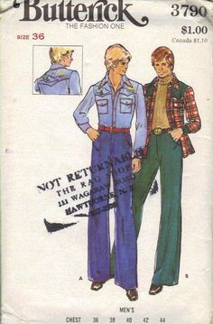 Items similar to Butterick 3790 Men's Shirt, Pants, the Embroidery transfer is included on Etsy Sewing Men, Sewing Clothes, Men Clothes, Western Style Shirt, Western Shirts, Western Wear, Wide Pants, S Shirt, Flare Pants