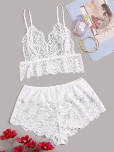 To find out about the Floral Lace Sheer Bralette With Shorts at SHEIN, part of our latest Sexy Lingerie ready to shop online today! Sexy Lingerie, Lingerie Outfits, Lace Lingerie Set, Women Lingerie, Satin Cami Dress, Sheer Bralette, Body Suit Outfits, Trendy Swimwear, Lingerie Collection