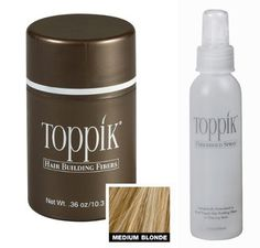 """Toppik All Natural Organic Keratin Protein Fibers Hair Thickening System Instantly Conceals Thinning Hair & Baldness! Regular .36 oz Container In """" Blonde"""" + Fiber Hold Spray 118mL + A-Viva Nail Buffer by Toppik. $41.99. FULLY COMPATIBLE TO USE WITH ALL HAIR GROWTH THERAPIES. AVAILABLE IN FOUR DIFFERENT SIZES TO FIT YOUR INDIVIDUAL NEEDS. INDISTINGUISHABLE FROM NATURAL HAIR. ALL NATURAL - blond (not md blond). WATER & WIND RESISTANT. THICKER & FULLER HAIR IN SECONDS. COLOR..."""