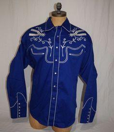 Rockmount Ranch Wear Pearl Snap Shirt Blue White Stitch Western Spurs XXL 2XL #ROCKMOUNT #Western