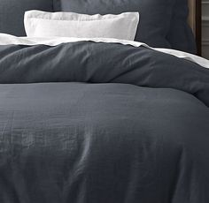 RH's Vintage-Washed Belgian Linen Duvet Cover:The finest linen dresses the bed with classic simplicity. Offering a unique blend of comfort, practicality and elegance, linen is pure luxury.