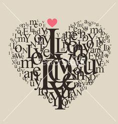 Typography heart vector on VectorStock®