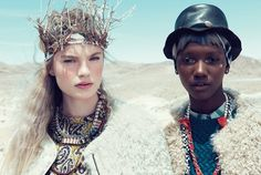 Smells like Teen Spirit; this Teen Vogue editorial is a cross between tribal and rock n' roll contrasting vibrantly against the crisp desert backdrop