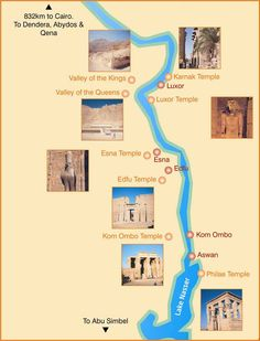 Nile cruise map. A list of places I want to visit.