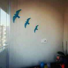 Polyester boyama 3lü martı duvar süsleri turkuaz Semiha Güngör Kuş