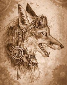 Steampunk-fox by *GreenAmb on deviantART Furry Art, Arte Furry, Fantasy Kunst, Fantasy Art, Art Fox, Steampunk Kunst, Steampunk Drawing, Steampunk Artwork, Fuchs Tattoo