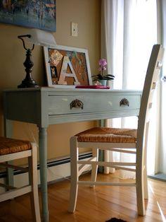 Aqua Shabby Chic Vintage Writing Desk