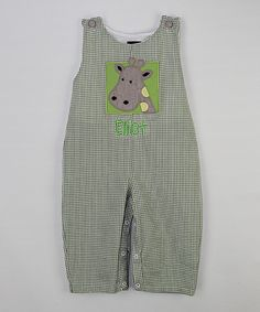 5dbb2b9cd7196 Look at this Green Gingham Personalized Giraffe Overalls - Infant &  Kids on #zulily