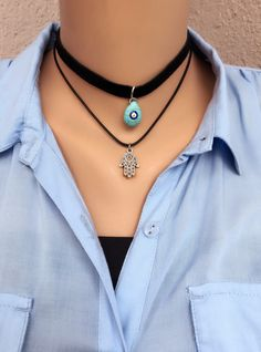 A personal favorite from my Etsy shop https://www.etsy.com/listing/496907736/evil-eye-charm-choker-necklacecharm