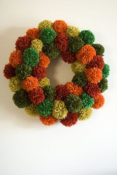 Pom Pom Wreath, fall & moss colors.