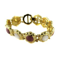 Aria Yellow Gold GP Brown & Mother of Pearl Floral Bracelet A812 #Aria #Floral