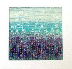 Lavender field  fabric landscape  fabric art card   by StitchMikki