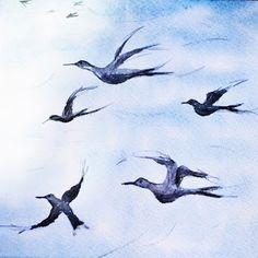 """Reyes  Muñoz: """"VOLANDO PARA ENCONTRARTE""""  #sumi e #zen #watercolor #birds #sky #painting 2016"""
