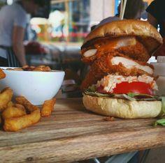 Comfort Kitchen London Dirty Bird Burger Sexiness in a bun Street Food London, Salmon Burgers, Bird, Chicken, Cooking, Ethnic Recipes, Kitchen, Cuisine, Cuisine