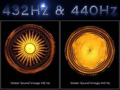 Official standard tuning around the world is A = 440 Hz (decided in 1939)  Tuning to A = 432 Hz is a more harmonious frequency, in tune with nature You can see for yourself with these two water sound images of the two frequencies.