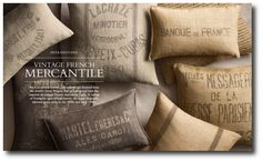 Grainsack Pillows 500x309 How To Make Your Own Stenciled Grainsack / Burlap Pillows