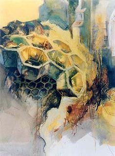 Louise Bird Honeycomb Landscape I Gallery Bee Images, Art Folder, Bee Tattoo, Bee Art, Insect Art, Pictures To Draw, Artist At Work, Watercolor Flowers, Art Inspo