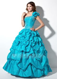Quinceanera Dresses - $200.99 - Ball-Gown One-Shoulder Floor-Length Taffeta Quinceanera Dress With Ruffle Beading (021004653) http://jjshouse.com/Ball-Gown-One-Shoulder-Floor-Length-Taffeta-Quinceanera-Dress-With-Ruffle-Beading-021004653-g4653