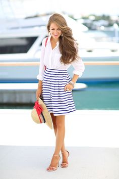 Stripes on a fit & flare skirt like this makes for the perfect, preppy nautical look