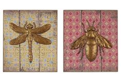 Dragonfly & Bee Wall Plaques Set on One Kings Lane today