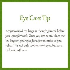 Eye Care Tip for Puffiness