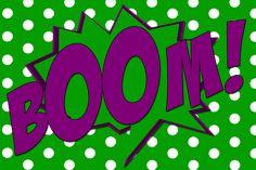 Free printable Boom! comic book word in 'hulk' colors