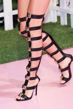 Black gladiator sandals for Philipp Plein for Milan Fashion Week Spring 2017