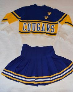 Womens Vintage Cheer Uniform Costume Blue Gold Sz Small Cheerleading Cheerleader | eBay
