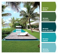 Relaxing Pool Paint Colors From Chip It By Sherwin Williams Tropical