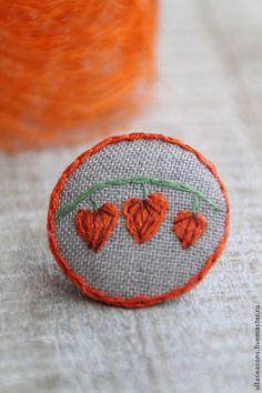 "Брошь ""Физалис"". Handmade. #embroidery"