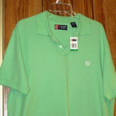NWT Men's Chaps Polo Short Sleeve Green Cotton Shirt Size Large Ralph Lauren New  Now $12.87