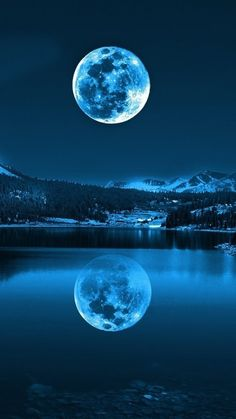 ↑↑TAP AND GET THE FREE APP! Nature	Landscapes Night Moon Awesome Amazing View Reflection Shining Lake Mountains Dark Blue  HD iPhone 6 Wallpaper