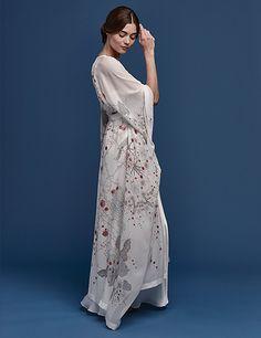 Meng luxury bridal loungewear - Cherry Blossom print silk georgette satin v neck wrap with dress - white Satin Gown, Kimono Dress, Neck Wrap, Flower Dresses, Cherry Blossom, Dress Making, Lounge Wear, Women Wear, White Dress