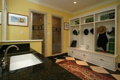 Mudroom with lockers and shower and steam bath!