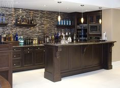 Nice basement wet bar with open shelves Favorite Places