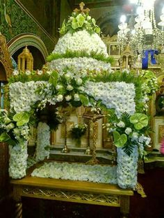 💖💖💖 Church Flower Arrangements, Church Flowers, Floral Arrangements, Flower Decorations, Table Decorations, Church Decorations, Condolence Flowers, Russian Orthodox, Holy Week