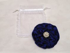 Beautiful in Spring, Summer, Winter or Fall, Navy Blue Women's Kippah with a pearl and rhinestone embellishment. Hand sewn by Vintage Blooms by Ellen and available on Etsy for only $30.