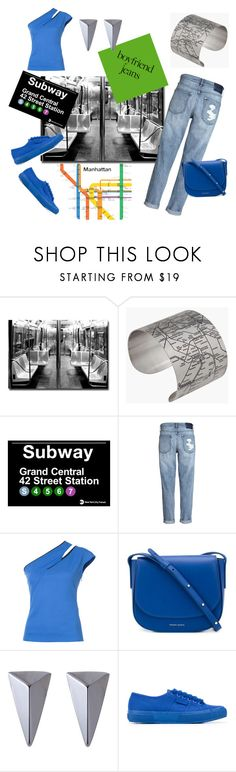 """Subway Boyfriend (Jeans)"" by scolab ❤ liked on Polyvore featuring Trademark Fine Art, Designhype, Thierry Mugler, Mansur Gavriel, Alexis Bittar and Superga"