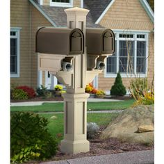 Mayne Rockport Clay Double Mailbox Post