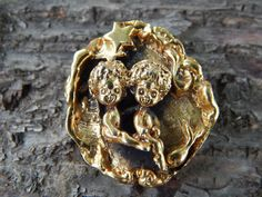 Antique Designer Tortolani Mint Condition Gemini by SoSwankVintage, $48.00 #designer #Tortolani #fashion #vintage #gemini #antique #brooch #jewelry #scarfpin #scarf