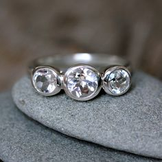 White Topaz Ring, Sterling SIlver Ring in a Three Stone Design by Garnet girl.  Love.