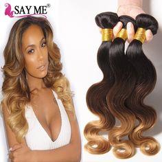 "3 Tone Ombre 8a Brazilian Body Wave Virgin Hair 2 Bundles Cheap 100% Unprocessed Ombre 1b 4 27 30 Blonde Human Hair Weave 10-26"""
