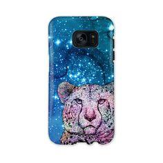 Phone Case Stars Cheetah Blue - Galaxy S7 Edge Tough Case Gloss