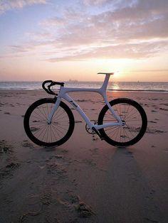 /by lockedcog #flickr #fixie #sunset #beach