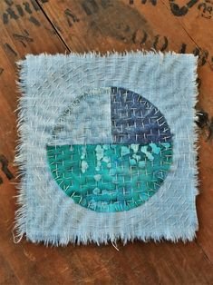 Japanese Boro Sashiko Slow Stitch mending patch Natural Indigo Full Moon Hand Dyed Patchwork Applique square
