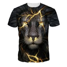 Men Lion Print Tee 2019 Casual Summer Wear Round Neck Short Sleeve Tops Tees Animal Male T-Shirt Multicolor XL 3d T Shirts, Casual T Shirts, Funny Tshirts, T Shirts For Women, Casual Tops, Men Casual, Outfit Stile, Lion Shirt, Men's T Shirts