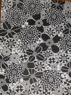 Original Pen and Ink Drawing Black and White Flowers