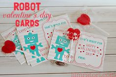 Free Printable Robot Valentine Cards | Lil Mrs. Tori